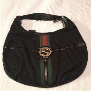 Authentic Vintage black Gucci logo hobo